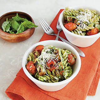 Pesto Pasta with Chicken and Tomatoes.