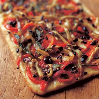 Flatbread with Eggplant, Peppers and Olives.