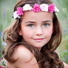 Flower Princess by Melissa Papaj - Babies & Children Child Portraits ( child, princess, model, girl, female, beautiful, pink, flowers, garden, pretty )