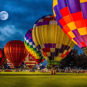 Moon Glow by Jeannie Meyer - Transportation Other ( foley, hot air balloon, moon, twilight, alabama, , colorful, mood factory, vibrant, happiness, January, moods, emotions, inspiration )