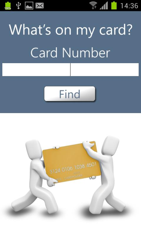 What's on my card?- screenshot