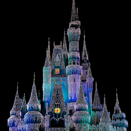 by Rich Turner - Public Holidays Christmas ( cinderella's castle, disney world, holiday lights, christmas lights )