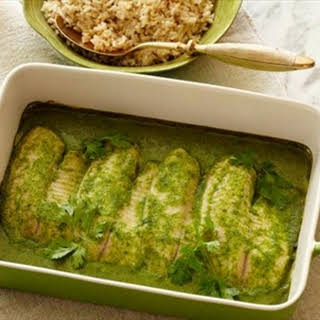 Baked Tilapia with Coconut-Cilantro Sauce.