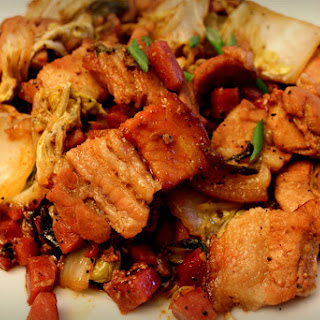 Barbecue Pork Belly with Napa Cabbage.