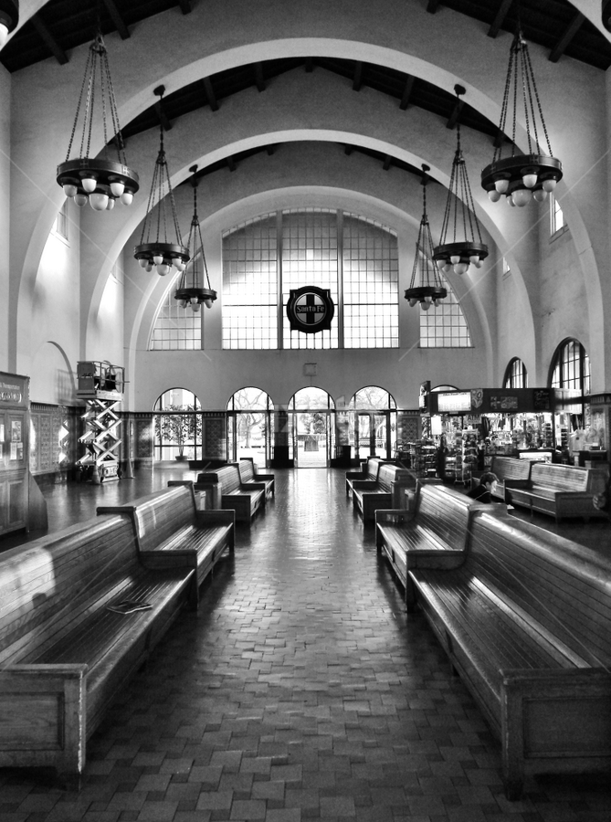 Santa Fe Station by Gary Ambessi - Black & White Buildings & Architecture