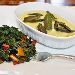 Sauteed Greens And Crispy Sage With Polenta.