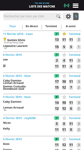 YesWeScore Tennis de Table