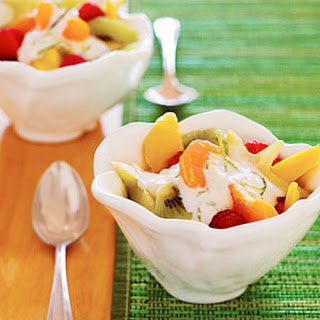 Fresh Fruit Salad with Creamy Lime Topping.