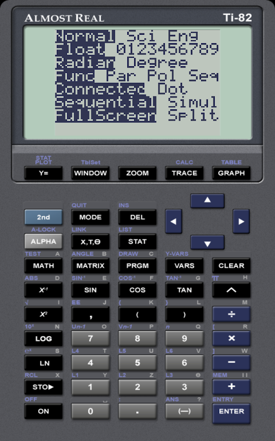 AlmostTI - TI Calc Emulator - screenshot