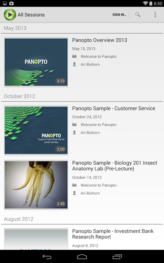 Panopto - screenshot