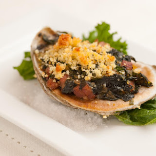 Baked Gulf Oysters with Country Ham, Braised Greens and Cornbread Crumbs