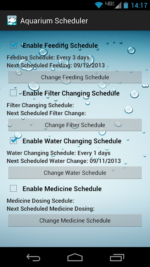 Aquarium Scheduler Free- screenshot
