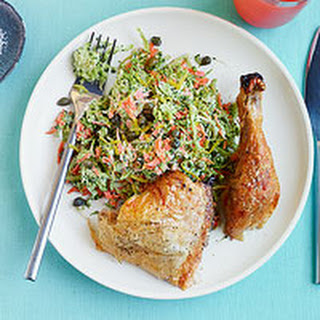 Roast Chicken with Lemony Broccoli Slaw
