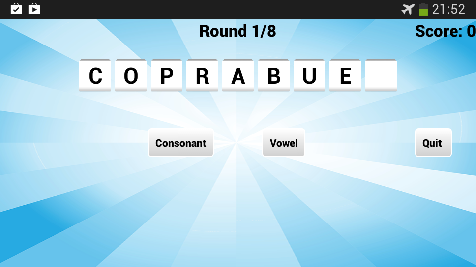 Vowel Please! - Countdown game - screenshot