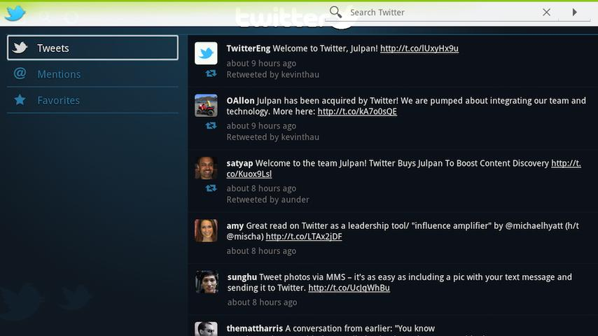 Twitter for Google TV - screenshot