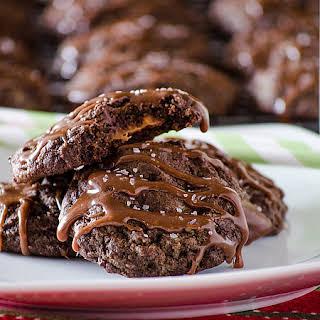 Salted Caramel-Stuffed Chocolate Truffle Cookies.