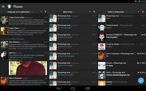 "Клиент Twitter ""Plume for Twitter"" для планшетов на Android"