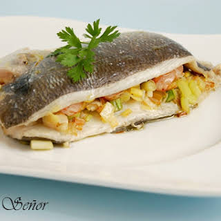 Gilt Head Bream Stuffed with Shrimp, Leeks, and Garlic Sprouts.