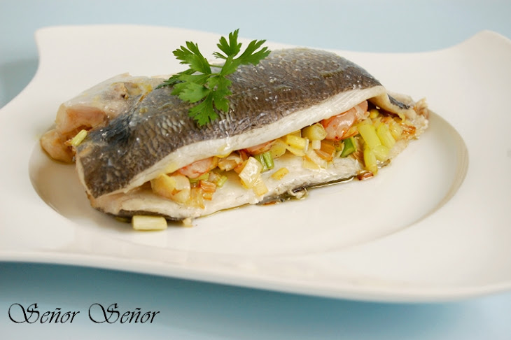 Gilt Head Bream Stuffed with Shrimp, Leeks, and Garlic Sprouts Recipe