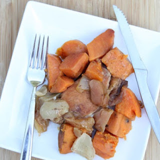 Slow Cooker Pork Chops with Apples & Sweet Potatoes.
