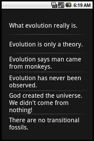 EVOLUTION FACTS - screenshot