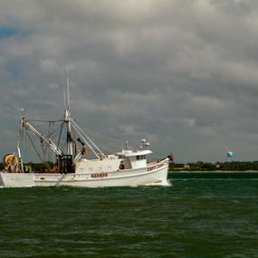 Shrimp Boat by Frank Matlock II - Transportation Boats ( nc, shrimp, ocean, fishing, morning, boat )