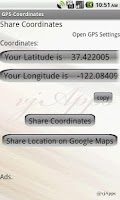 Screenshot of GPS Coordinates GPS Location