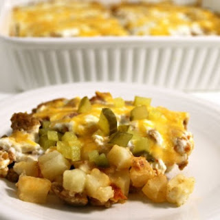 Low Calorie Cheeseburger and Potato Casserole.