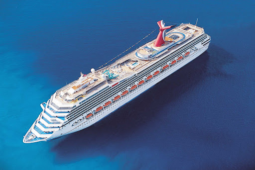 Carnival-Conquest-aerial - Carnival Conquest sails in and around the Caribbean on two- to nine-day itineraries.