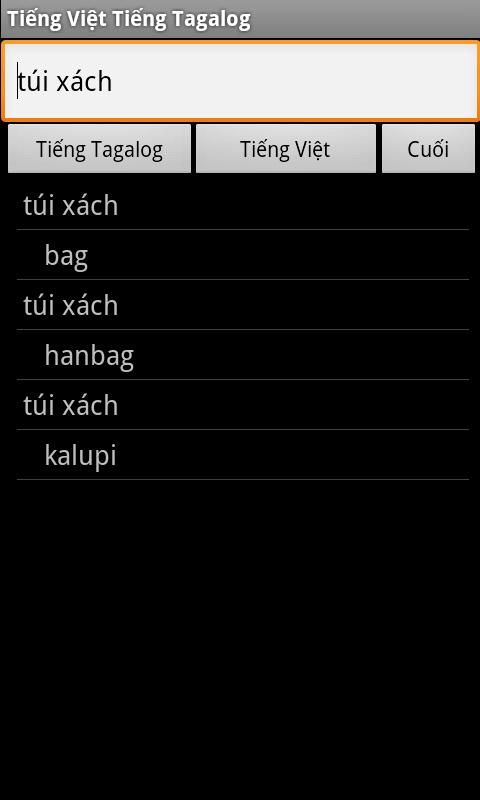 Vietnamese Tagalog Dictionary - screenshot