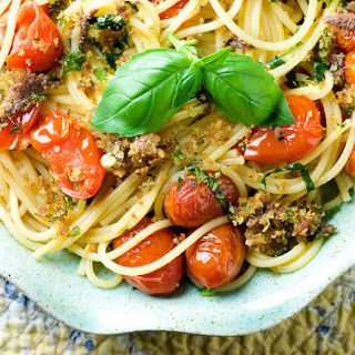 Roasted Tomato and Anchovy Oreganata Pasta.