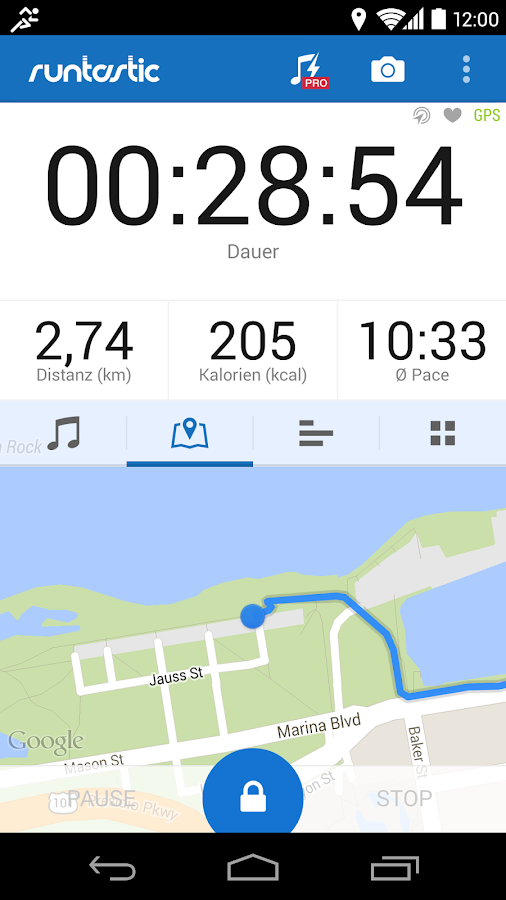 Runtastic laufen fitness screenshot