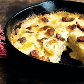 Blue Cheese Scalloped Potatoes With Chipotle And Bacon.