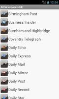 Screenshot of All Newspapers UK