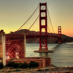 Golden Hour at the Golden Gate by Madhujith Venkatakrishna - Buildings & Architecture Bridges & Suspended Structures ( , golden hour, sunset, sunrise, #GARYFONGDRAMATICLIGHT, #WTFBOBDAVIS )