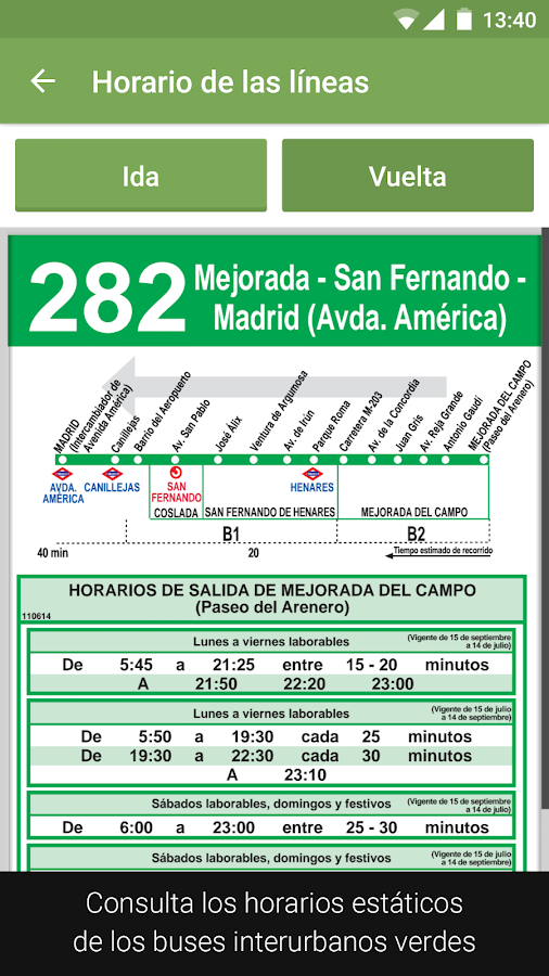 Transporte Madrid Tiempo Real: captura de pantalla