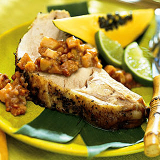 Roast Pork Loin with Pickled Caramelized Guavas.