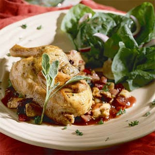 Game Hens with Fruit-and-Sausage Stuffing.