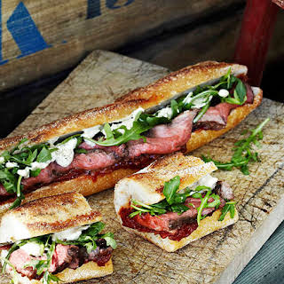 Rare Roast Beef Baguettes With Roast Tomato And Currant Chutney.