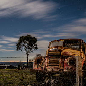 River Lett by Carley Reed - Transportation Automobiles ( clouds, car, vintage, stars, night, landscape, rust )