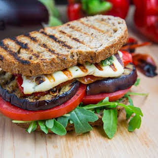 Grilled Eggplant and Roasted Red Pepper Sandwich with Halloumi.