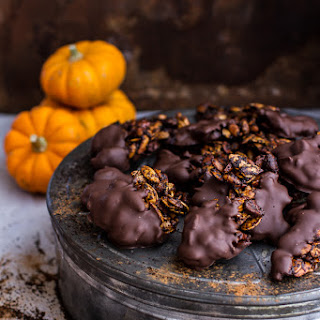 Vanilla Coffee Roasted Pumpkin Seed Snack Clusters…Dipped in Chocolate.