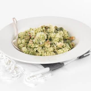 Arugula Pesto Pasta with Chicken and Castelvetrano Olives.