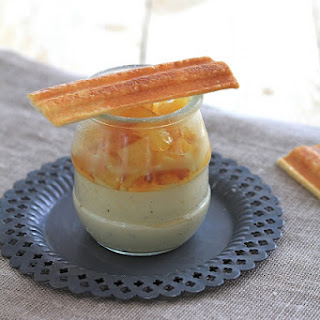 Vanilla Pots de Creme with Caramelized Pineapple and Puff Pastry Fingers.