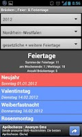 Screenshot of Brücken-, Feier- & Ferientage