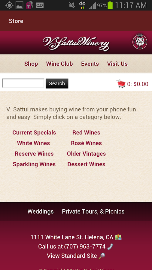 V. Sattui Winery - screenshot