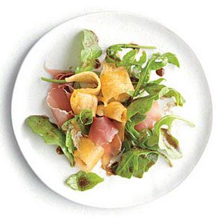 Arugula Salad with Melon and Prosciutto.