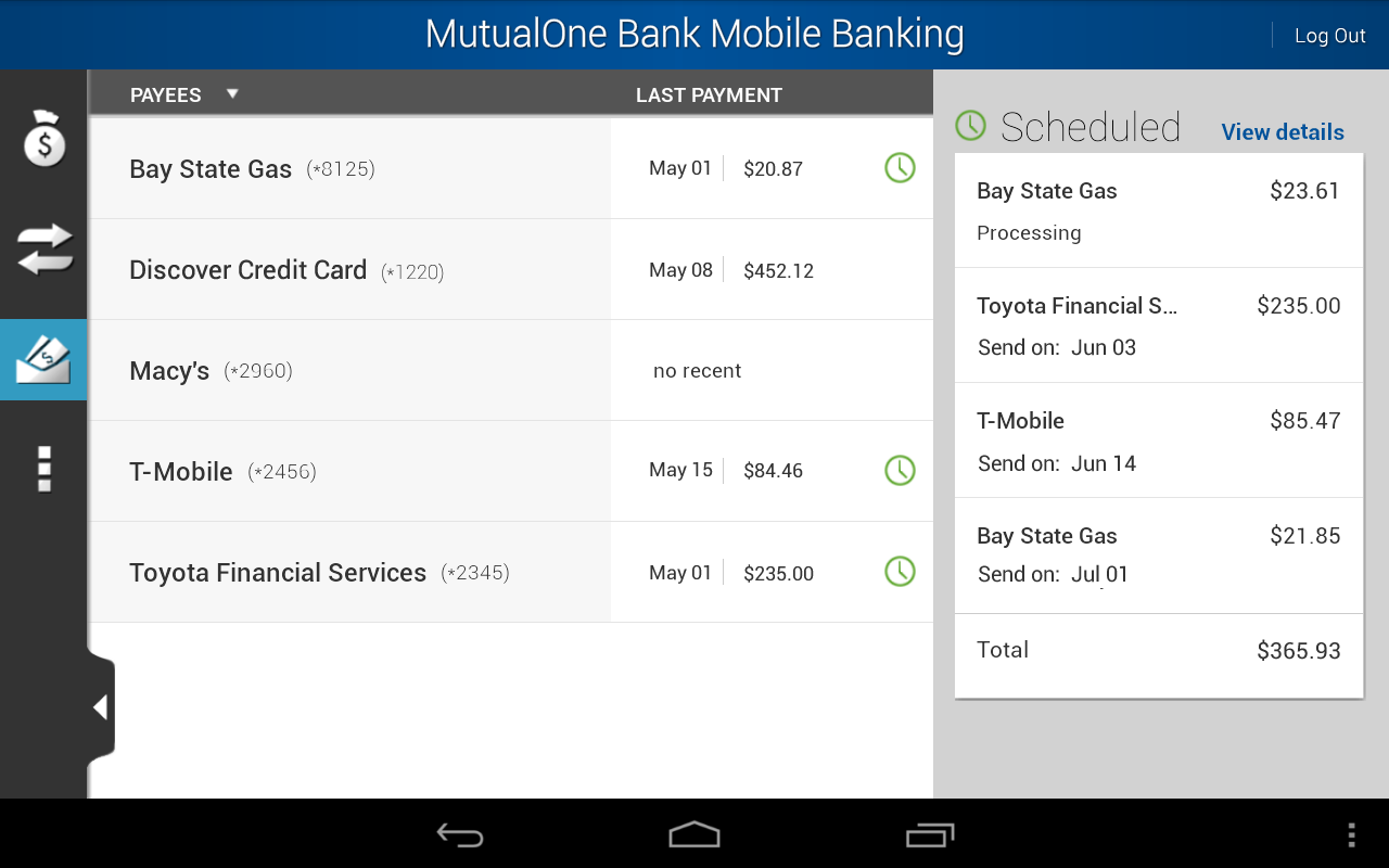 MutualOne Bank Mobile Banking - screenshot