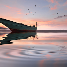 sunrise at beach by AbuIrfan Outdoorgraphy - Landscapes Beaches ( water, reflection, sky, red, wave, sunrise, boat, birds )