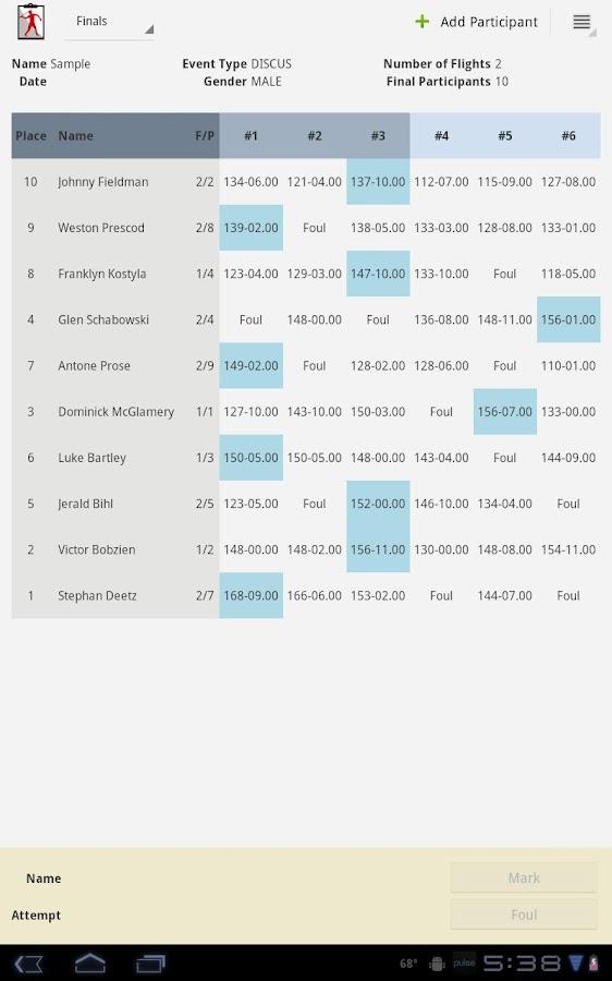 Track and Field Clipboard- screenshot